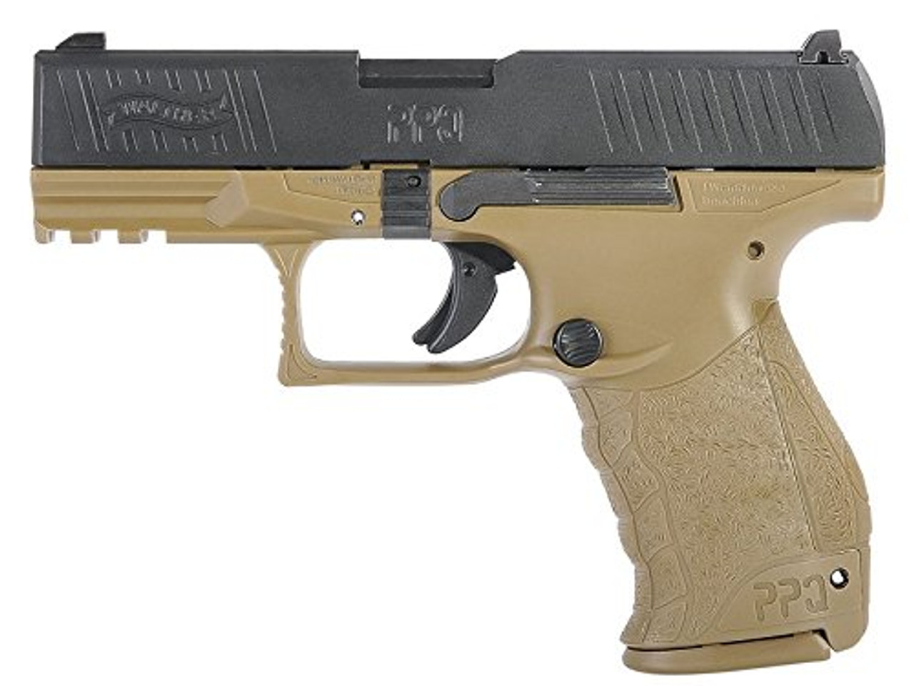 Muzzle left of Walther / StarkArms PPQ M2 Tan GBB Airsoft gun