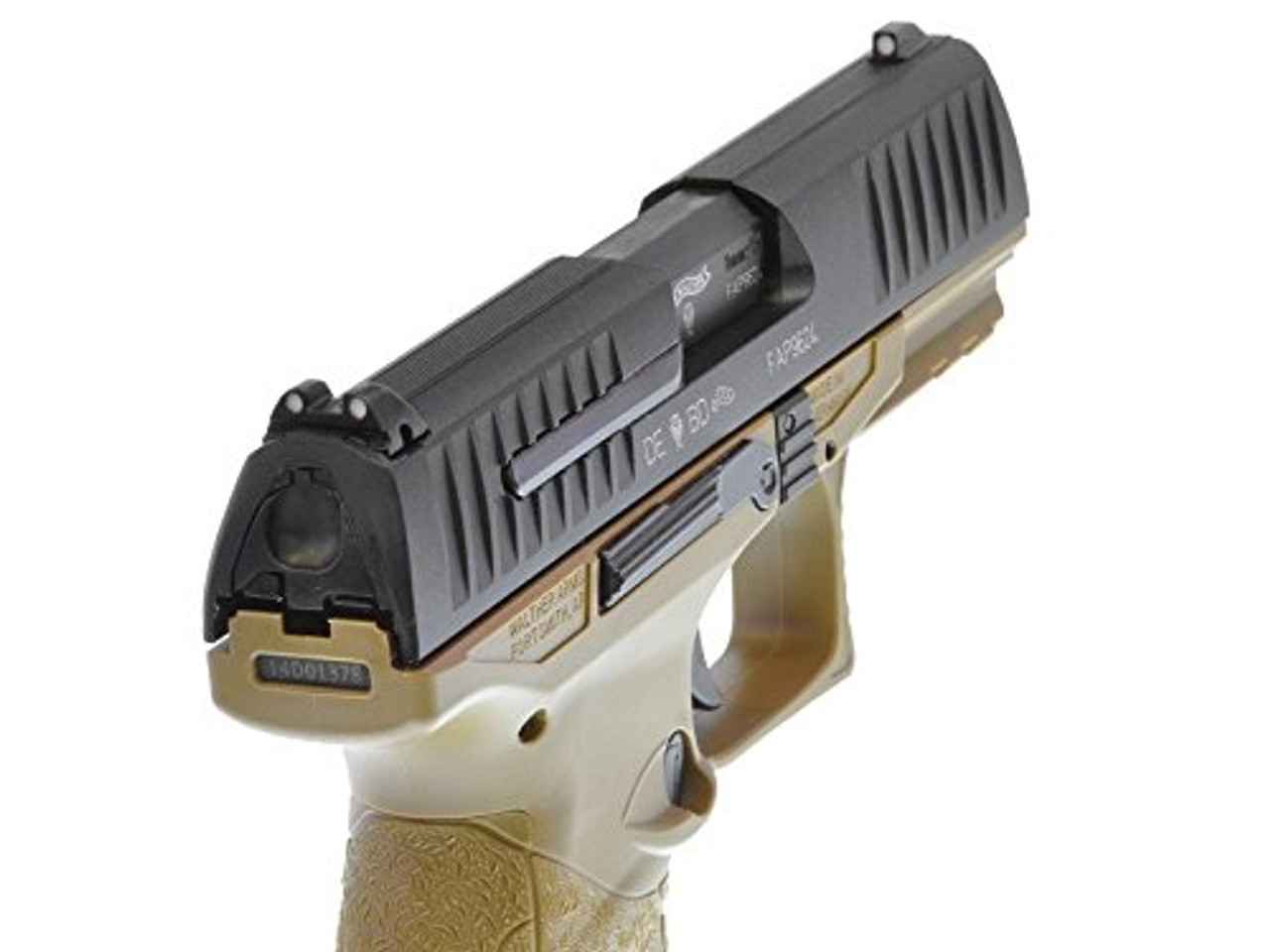 Back right of Walther / StarkArms PPQ M2 Tan GBB Airsoft gun