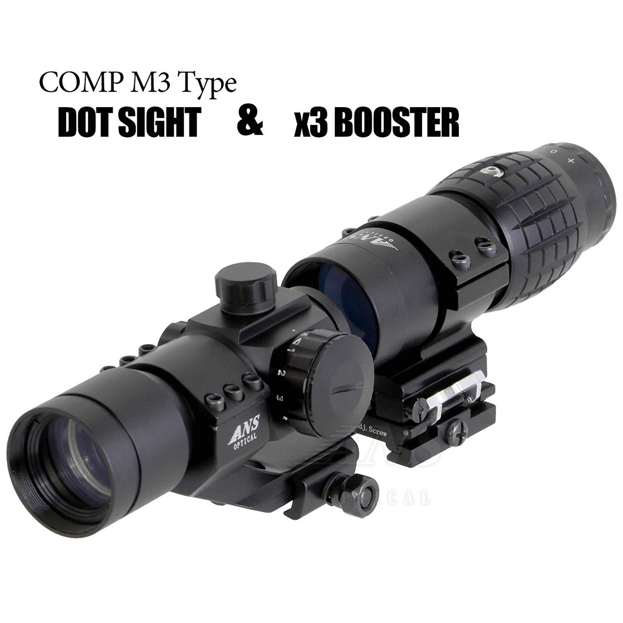 ANS set of EO HD L3 X3 Scope booster and AIM COMP M3 dot sight