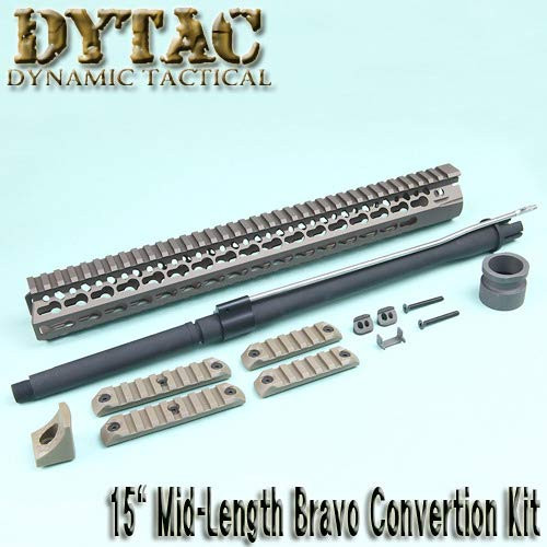 Dytac 15-inch mid-length BCM KMR type Dark Earth color (M31.8 / P1.5) conversion kit for Marui M4/M16 AEG