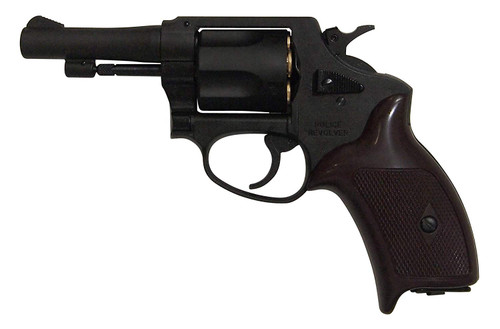 Muzzle left of Marushin 3 inch Black HW Copper Head Cart Specifications Police Gas Revolver Airsoft Gun