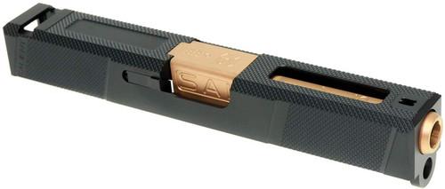 GUNS MODIFY set of G19 SA Tier1UT Style Aluminum Slide & Box Flute Stainless Barrel Rose Gold