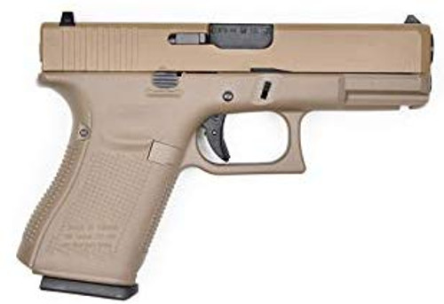 Muzzle right of WE Tech G19 Glock GEN5 Real stamp Airsoft GBB gun TAN