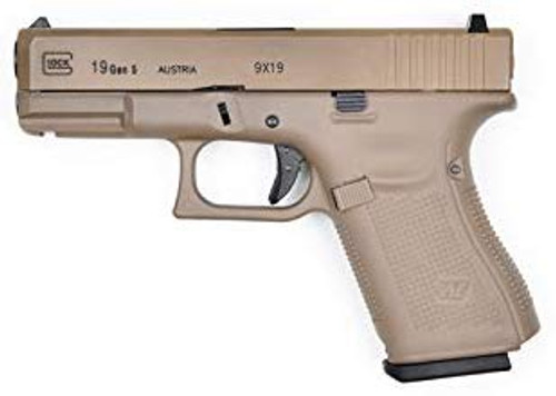 Muzzle left of WE Tech G19 Glock GEN5 Real stamp Airsoft GBB gun TAN