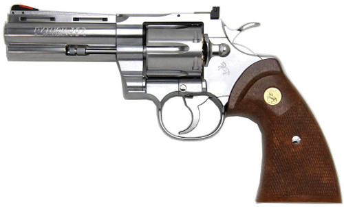 Muzzle left of Tanaka Colt Python .357Magnum 4inch R-model Stainless Finish Airsoft Gas Revolver