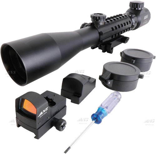 ANS Opical Tri-Rail Rifle Scope & Impact Dot Sight