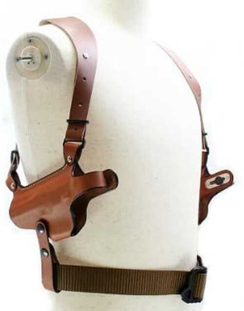East.A cowhide wide harness shoulder holster W holster type brown