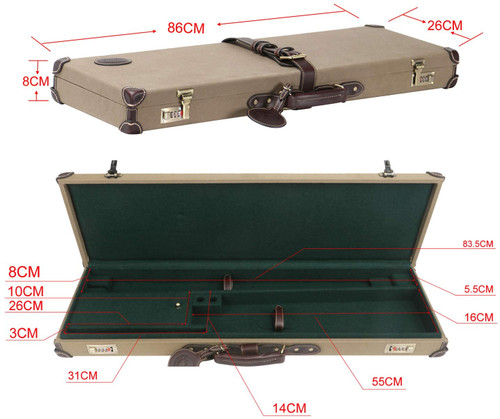 Tourbon Canvas & Leather Heavy Duty Shotgun Box Gun Case with Combination Cord Lock