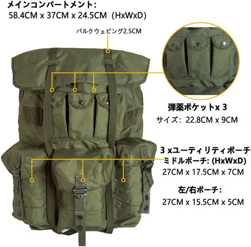 Akmax.cn ALICE Army Tactical Backpack Belt and Back Frame Olive