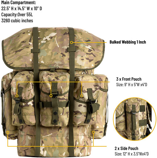 Akmax.cn ALICE Army Tactical Backpack Multicam color with belt and mirror stand