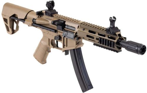 King Arms PDW 9mm Airsoft Electric Rifle gun [MP5 Magazine Compatible, JASG Certified] M-LOK M4 [DE]