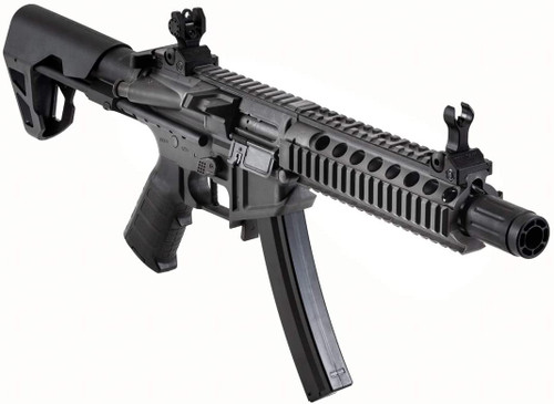 King Arms PDW 9mm Airsoft Electric Rifle gun [MP5 Magazine Compatible, JASG Certified] SBR Long [Grey]