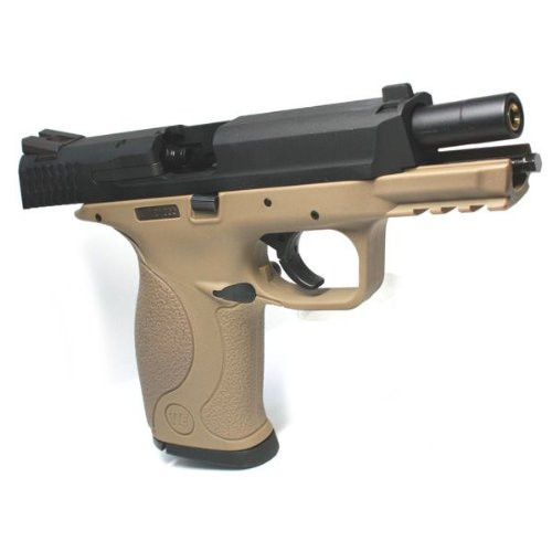 Muzzle right of We-Tech M & P TAN Metal Slide Version Gas Blow back Airsoft Gun