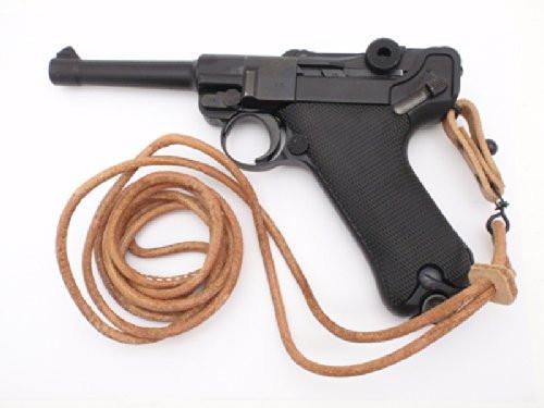 Muzzle left of Tanaka German army Luger P08 HW GBB Airsoft gun and lanyard