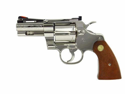Muzzle left of Tanaka Colt Python 357 magnum 3 inch R - model Nickel Finish Gas revolver Airsoft Gun