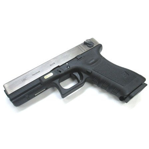 Muzzle left of We-Tech Glock 18C Gen 3 Silver Slide GBB Airsoft gun