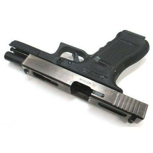 Right side of We-Tech Glock 18C Gen 3 Silver Slide GBB Airsoft gun