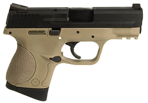 Muzzle right of We-Tech M&P compact Tan color GBB Airsoft gun