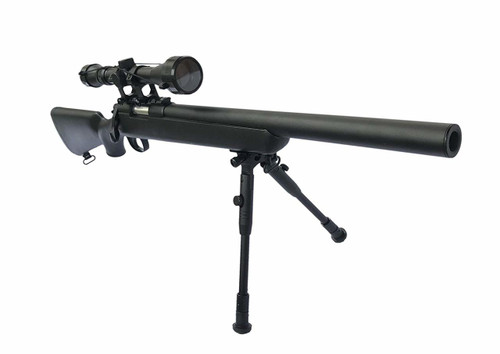 Muzzle right of WELL MB02 Bolt Action Airsoft Cocking Rifle with Scope Bipod