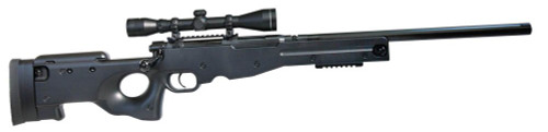Muzzle right of Crown Model TYPE 96 bolt action airsoft cocking rifle gun with senior scope