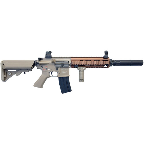 Muzzle right of Bolt AirSoft Recoil Shock Airsoft Electric rifle Gun HK416D Devgru B.R.S.S. TAN Complete set with silencer