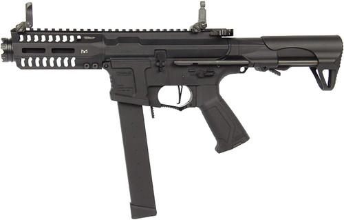 Muzzle left of G&G ARMAMENT ARP9 black Airsoft electric sub machine gun