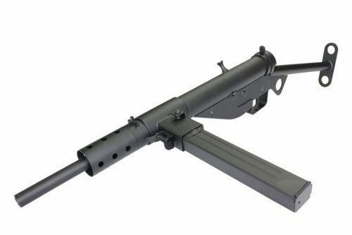 Muzzzle left of AGM MK2 STEN Airsoft electric sub machinegun