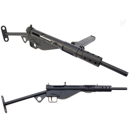 Muzzle right of AGM MK2 STEN Airsoft electric sub machinegun