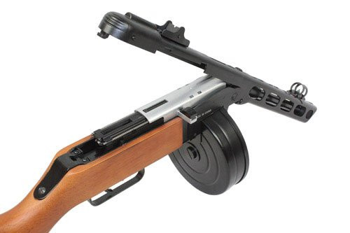 Right side of S&T PPSH 41 Airsoft electric recoil system sub machine gun