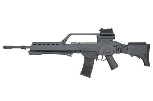 Muzzle left of S&T G36V black Airsoft electric blow back rifle gun