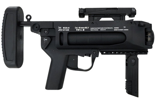 Muzzle right of S&T M320A1 grenade black Airsoft launcher pistol gun