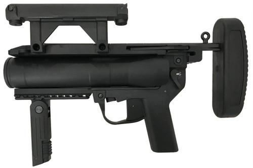 Muzzle left of S&T M320A1 grenade black Airsoft launcher pistol gun