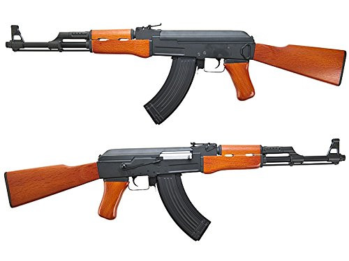 Left and right side of CYMA AK-47 CM042 Real Wood Stock Version Airsoft electric rifle gun