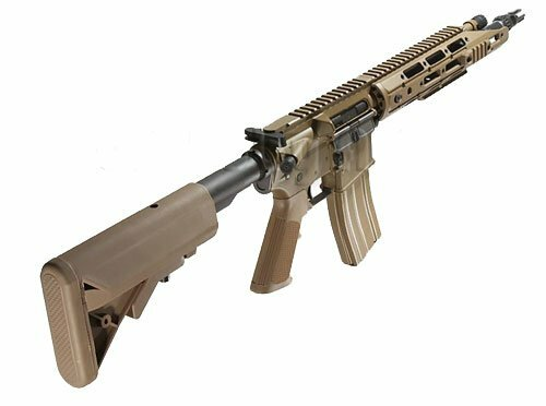 Right side of We-Tech RAPTOR OB Tan color Gas blow back Airsoft gun