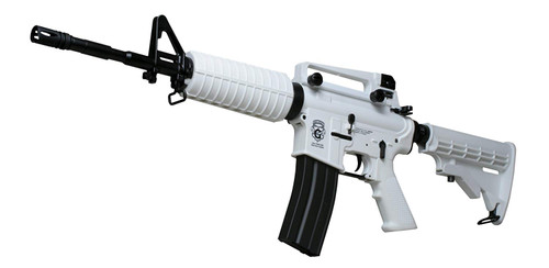 Muzzle left of G&G ARMAMENT Chione 16 white Airsoft blow back electric rifle gun