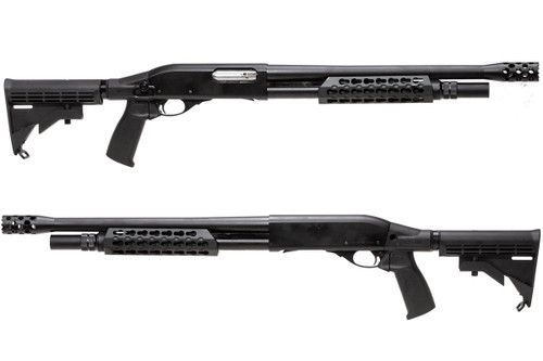 Left and right side of APS CAM870 MK2-J Live Shell TACTICAL Airsoft Shotgun
