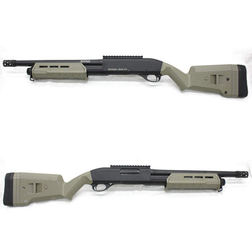Left and right side of  CYMA 356 M870 Tactical Sportsline Short Airsoft shotgun