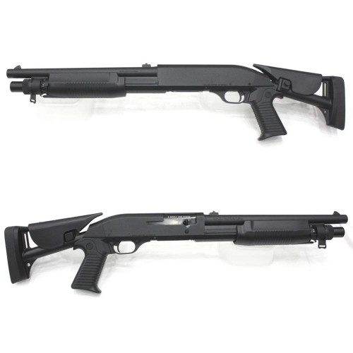 Left and right side of CYMA 363M Benelli M3 Short Retractable Stock Full Metal Airsoft Shotgun