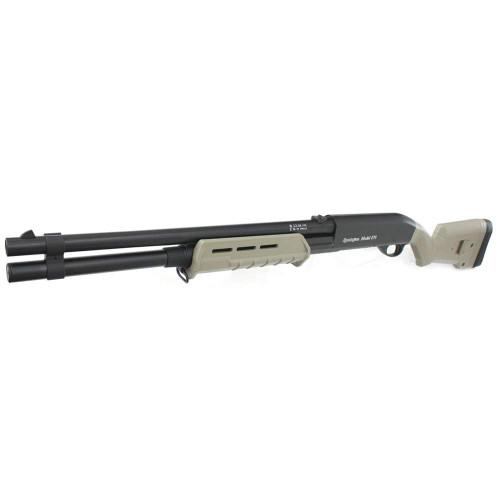 Muzzle left of CYMA 355 LMDE M870 M-Style Long Full Metal Airsoft shotgun