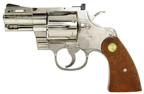 Muzzle left of TANAKA Colt Python .357 Magnum 2-1 / 2 Inch R Model Nickel Finish Model Gun