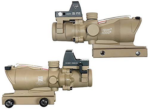 Left and right side of Trijicon ACOG TA31-ECOS-G 4x32 Dark Earth 4x scope with dot sight Replica Condensing Reticle Luminous