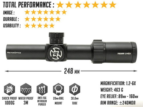VECTOR OPTICS Paragon 1.2-6x24 CQB illuminated scope