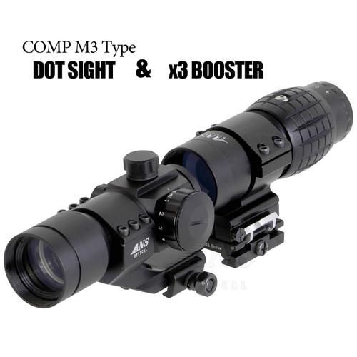 ANS set of EO HD L3 X3 Scope booster and AIM COMP M3 dot sight
