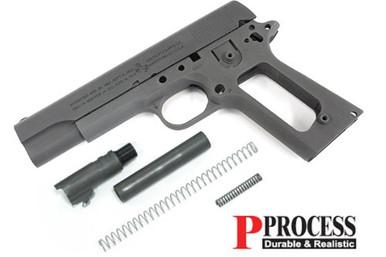 Airsoft CNC Aluminum Pistol Grip Cover For Tokyo Marui M1911 M.E.U Charcoal Grey