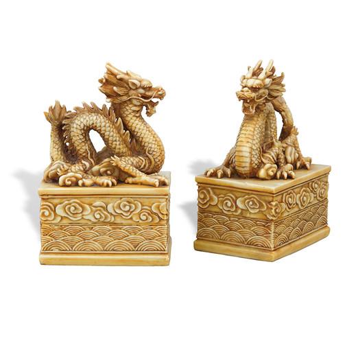Dragon Ivory Bookeneds- Set Of 2
