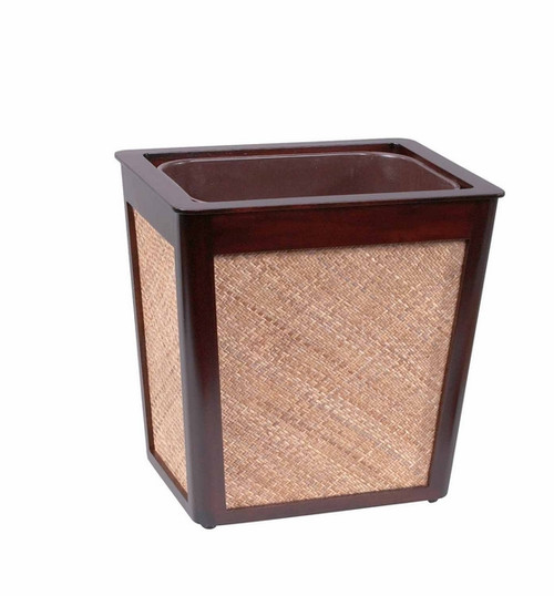 Mahogany And Rattan Waste Basket With Insert