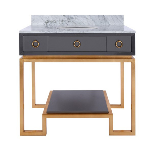 Owen Grey Lacquer Bath Vanity Paired With Gold Leaf Base & Hardware