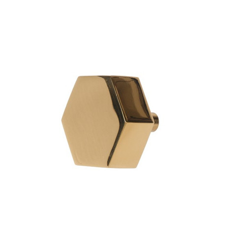 Hex Hexagon Shaped Pull In Brass Finish