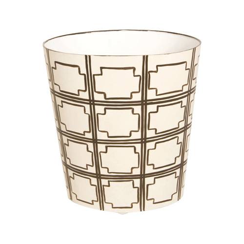 Oval Wastebasket Brown And Cream