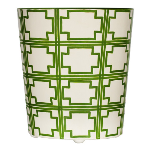 Oval Wastebasket Green And Cream